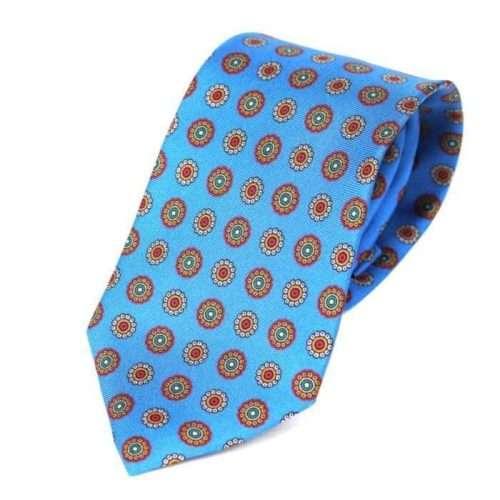 Luxury Silk Italian Tie - Blue Medallion