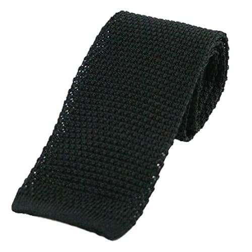 Black Silk Knitted Tie