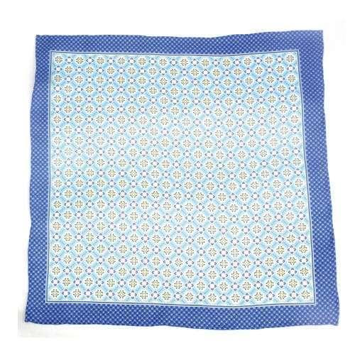 Blue Medallion Silk Pocket Square