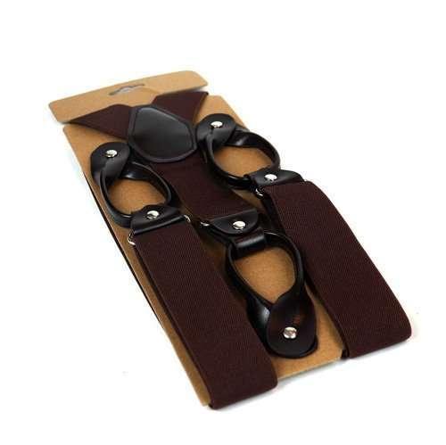 Mens Trouser Button Braces - Brown