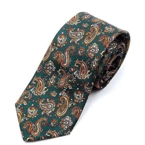 Luxury Green Paisley Printed Tie
