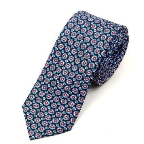 Luxury Navy Printed Silk Tie