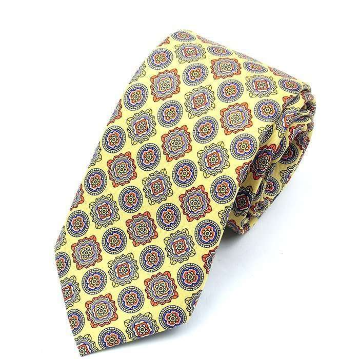 Luxury Yellow Printed Silk Tie
