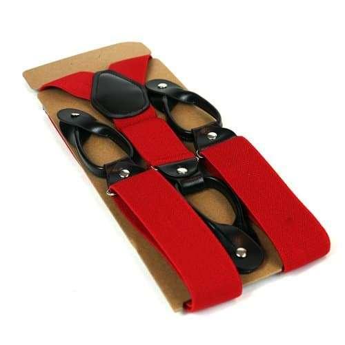Mens Trouser Braces/Suspenders - Red
