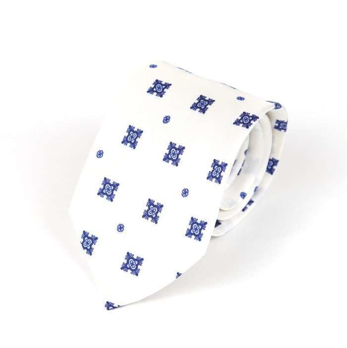 Luxury Silk Italian Tie - White with blue Medallions