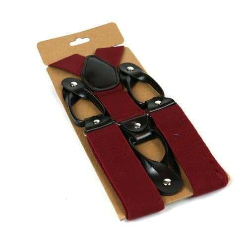 Mens Trouser Braces/Suspenders - Burgundy